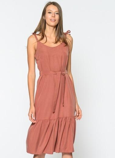 Loves You Askılı Eteği Volanlı Tensel Elbise Kiremit